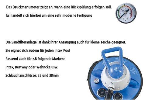Miganeo Speedclean 9,5 m³ Sandfilteranlage mit integrierter Zeitschaltuhr für Pool bis 40m³ - 6
