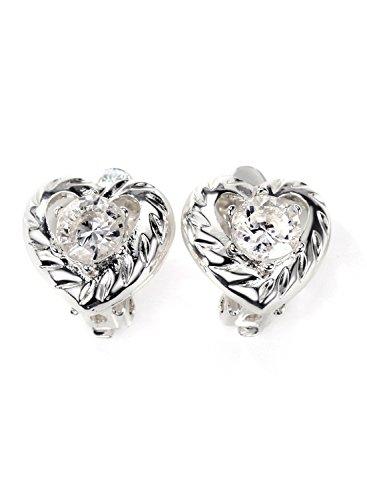 Neoglory Jewellery Silber Ohrstecker mit Zirkonia weiß Herz clip earrings schlicht allergiefrei damen