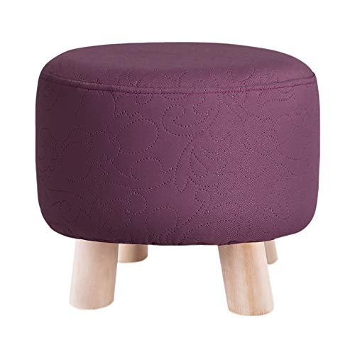 Repose-Pieds Tabouret en Bois Massif Salon Chaussures Banc Banc Ménage Tabouret Tabouret Tabouret Mode Basse Hauteur De Tabouret 28 × Largeur 32 GW (Couleur : Purple)