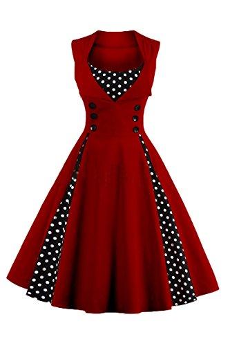 YMING Damen SommerkleidÄrmellose Partykleid Midi Kleid Polka Dots Partykleid Ärmellos Vintage Kleid,Weinrot,XL / DE (Polka Kleid Dot Plus Red Size)
