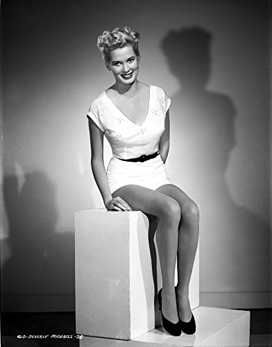 The Poster Corp Beverly Michaels Seated Wearing White Dress and Black Heels Photo Print (60,96 x 76,20 cm) -