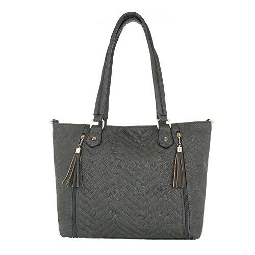 iTal-dEsiGn Damentasche Mittelgroße Schultertasche Handtasche Used Optik Kunstleder TA-H1013 Grau