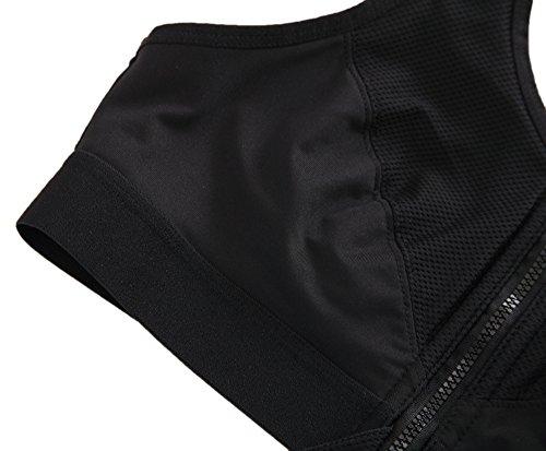 Yvette Zip Fermeture Avant-Gorge De Sport #6015-De Haute Résistance/Course à Pied/Compression noir - Noir