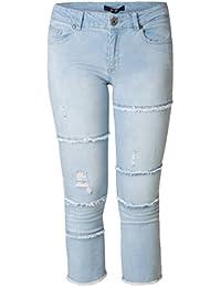 Yesta Jeans Hose Destroyed-Look für Damen große größen Kurzgröße 3 4 Länge  Hellblau Skinny Stretch Hose kurz… e1bb30a834