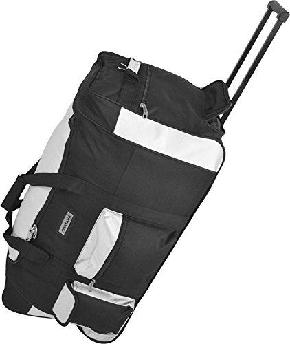 Reisetasche Jumbo Big-Travel mit Rollen riesige XXL V4 5. Generation NEU von normani® Schwarz/Weiß