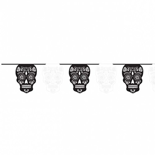 Partykette Sugar Skull Girlande Tag der Toten 365 cm Totenkopf Kette Halloween Deko Totenfest Dekoration Dia de los Muertos Party Raumdeko Halloweendeko Wimpelkette Partydeko Dekogirlande (Kunststoff-kette Halloween Große)