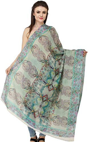 Exotic India Loden-Frost Digital-Printed Shawl from Amritsar - Green Loden Green Wool