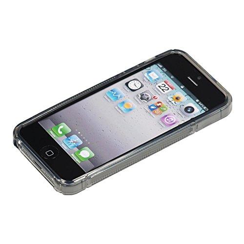 Coque en Silicone pour Apple iPhone 5 / 5s / SE - S-Style logo rouge - Cover PhoneNatic Cubierta + films de protection gris