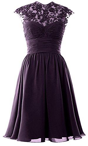 Women High Neck Cap Sleeve Lace Short Bridesmaid Dress Wedding Party Ball Gown Prune