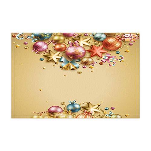 JoneAJ Neujahr Gold Xmas Ball Urlaub Dekoration Bad Teppiche Winter Festival Weihnachtskugeln für Kinder Duschmatte 15.7X23.6in Fußmatte für Wohnkultur Bad Boden Teppich