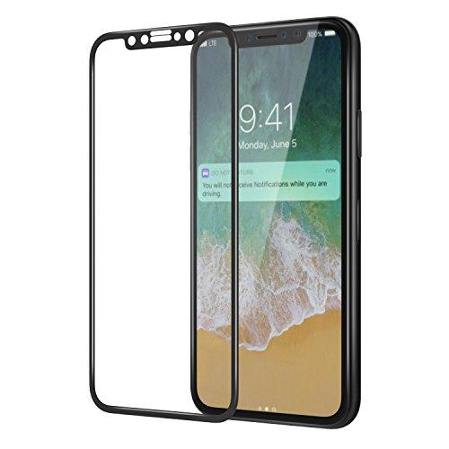 iPhone X Protector de Pantalla, MH Designs® [Bubble-Free] [Anti-rasguños] [Fácil instalación] 3D Cobertura completa 9H Dureza HD Claro Protector de pantalla de vidrio templado para Apple iPhone X (2017 Edition) - Negro