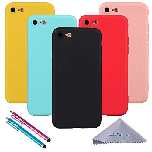 Wisdompro iPhone 7 Hülle, iPhone 8 Hülle, 5 Stück Bündel von Jelly Bunt Weiche TPU Gel Schutzhülle für Apple iPhone 7, iPhone 8, 5-Color Candy