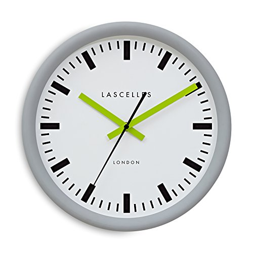 Roger Lascelles Uhren TS/Sync/grau/lime Wanduhr, mittel, grau/Limettengrün/Weiß