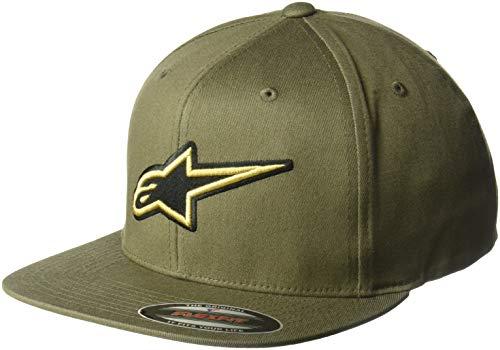 Alpinestars Herren Logo Flexfit hat Flat Bill Structured Crown Baseball Cap, Metalize Hat Military Green, Small/Medium Flex-fit Cotton Twill Cap