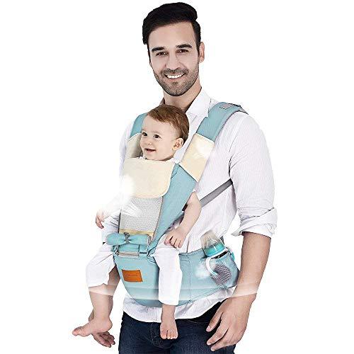 TLTLYEBD Babytrage Ergonomisch Verstellbar Atmungsaktiv Bequemer Leichter Baumwollrucksack Babytrage, Passt Zu Baby Growth - Mintgrün