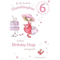 Beautiful Granddaughter 6th Birthday Card (GR-206206) - Little Girl Playing Dress Up - Sending Hugs and Kisses - Foil and Flitter Finish