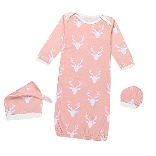 Moginp Overall,1 Satz Neugeborenes Baby Jumpsuit Weihnachten Rentier Kleid Hut Keine Kratzer Handschuhe 3 Stücke Outfits Kleidung (S, Rose)
