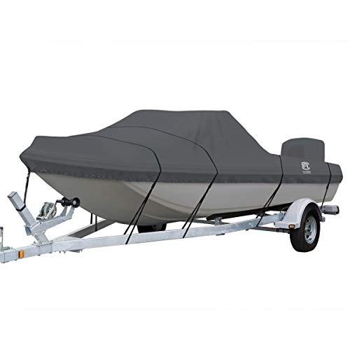 Classic Accessories StormPro Heavy Duty Tri-Hull Outboard Cover with Support Pole, Fits Boats 17'6