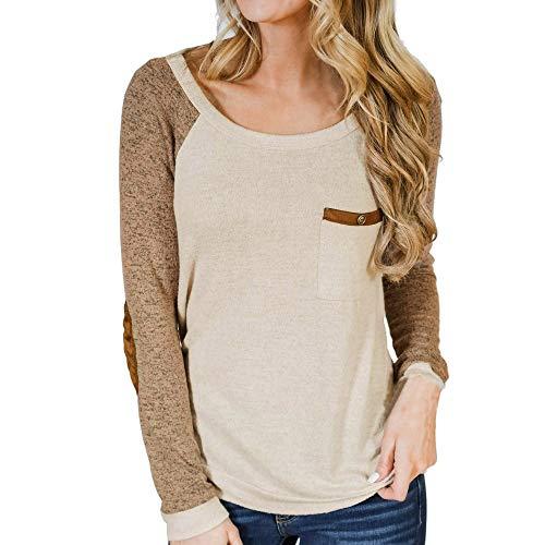 TWIFER Frauen Langarm mit Tasche O-Ausschnitt T-Shirt Button Ellenbogen Patch Sweatshirt