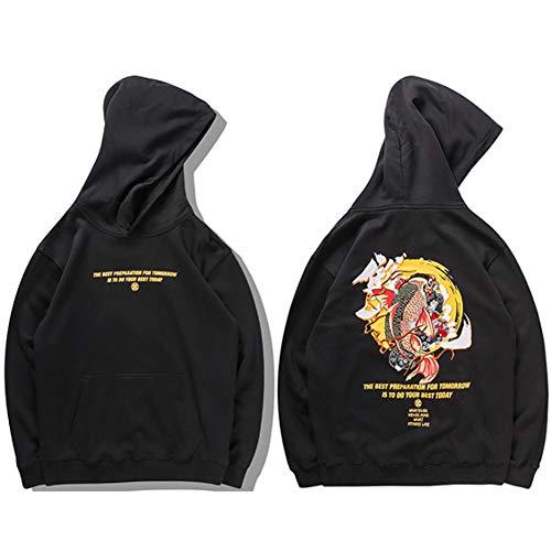 WanFeng Herren Hip HopUkiyoe japanische StreetwearHarajuku Kanji Pullover Bestickt Koi FischSweatshirt Baumwolle Hiphop