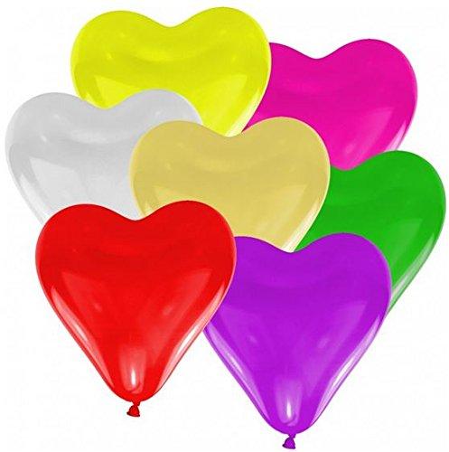 25 große Herzballons bunte Mischung Luft und Ballongas geeignet (Bunte Herzen)