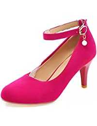 Easemax Damen Elegant Lackleder Knöchelriemchen Plateau Pumps Schuhe Rot 38 EU fY5K7S