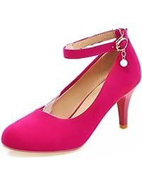 Easemax Damen Elegant Lackleder Knöchelriemchen Plateau Pumps Schuhe Rot 38 EU