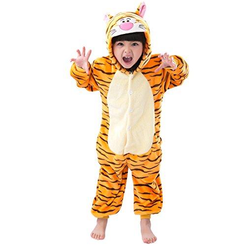 Cool&D Kinder Schlafanzug Onesie Jumpsuits Tier Pyjama Hausanzug Flanell Kostüme mit - Kind Tiger Pyjama Kostüm