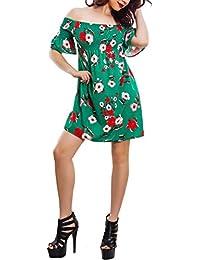 Toocool Vestito donna miniabito fantasia floreale spalle nude elegante sexy  VB-1553 9a822528717
