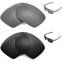 walleva polarizadas Titanio + Negro Lentes de repuesto para Oakley Plaintiff Squared Gafas de sol