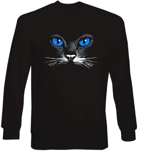 Wunderschöner Sweater, Sweatshirt mit schwarzer Katze! Blue eyes black cat Exklusives Geschenk Größe XL Farbe schwarz