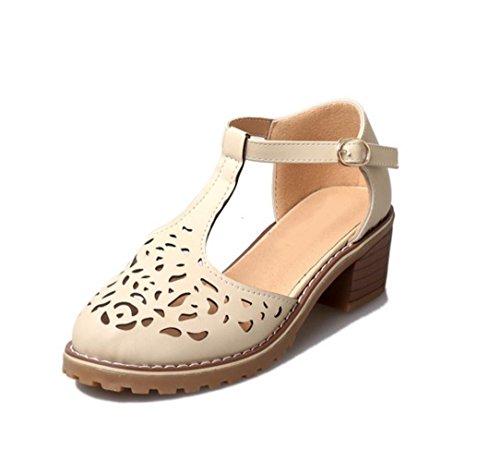 WZG Printemps et boucle d'été hauts talons épais pente croûte de pain avec des sandales romaines Baotou wisp vide light yellow