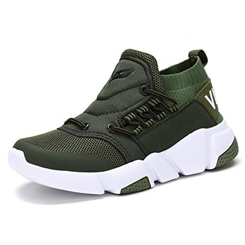 VITIKE Jungen Mädchen Mesh Sneaker Outdoor Athletic Unterhose auf Beiläufig Laufen Schuhe (Kleinkind/Kleines Kind/Großes Kind-Grün-EU34) (Grün Turnschuhe Jungen)