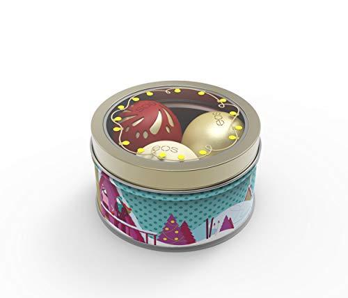 eos Limited Edition X-Mas Set: Holiday Lip Trio, Lippenpflege-Geschenk-Set, Organic Vanilla Bean, Shimmer Ruby Gold & Organic Chai, Lippenbalsam, Beauty-Produkte für die Weihnachtszeit, 3er Set