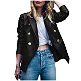 Kunstleder Jacke Damen PU Lederjacke Reverskragen Blazer Jacket Herbst Anzugjacke Sakko Casual Mantel Jackett Slim Fit Business Party Club Festival Anzugjack Solide Strickjacke Schwarz S-XXL