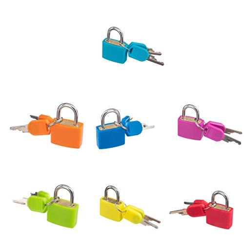 Gazechimp 7 Stück Mini Schloss Sicherheitsschloss Vorhängeschloss Lock mit 2 Schlüsseln für Taschen Boxen Reisekoffer