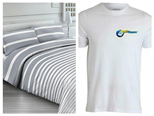 Hommage T-shirt notre équipe de couette avec taies d'oreiller pour lit – rayé – Blanc Gris Rayures – Y Compris Sous en uni de couleur gris – En coton fabriqué en italie