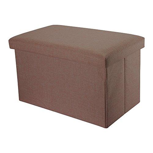 Intirilife – 78 x 38 x 38 cm Sitzbank mit Stauraum aus Stoff in Leinen-Optik - Aufbewahrungs-Box Sitzhocker Faltbox Ordnungsbox Aufbewahrungsbank Sitz-Truhe Fußbank Bettbank Kiste mit Deckel in BERNSTEIN-BRAUN