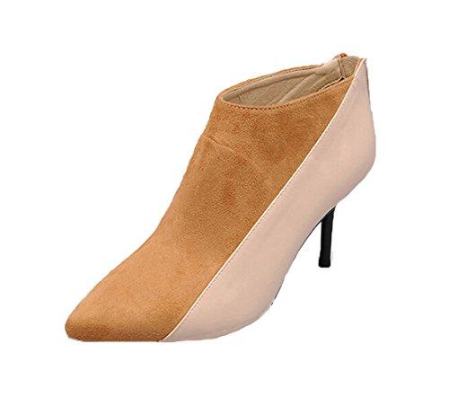 Honeystore 2016 Neuheiten Frauen Kunstleder Stöckel Absatz Geschlossene Zehe Stiefel Stiefelette Schuhe Kamel