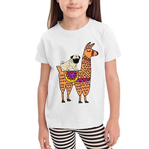 Old Navy Gingham Shirt (Netter Mops Hund Reiten auf Lama Jungen Mädchen Kinder Kurzarm T-Shirt Sport Baseball Tees(2t,weiß))