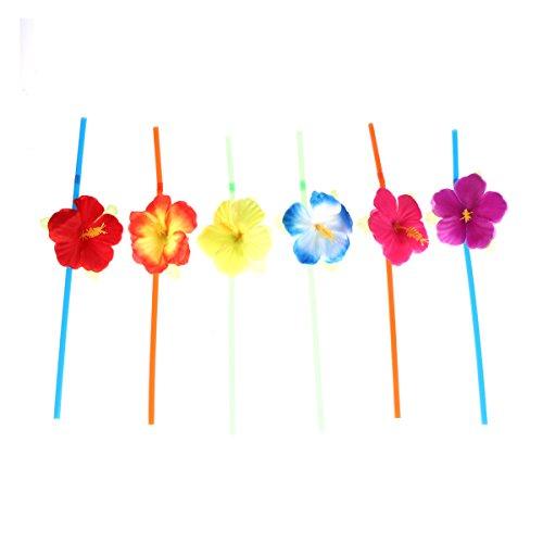Toyvian 48 Stücke Blume Strohhalme Einweg Trinkhalme für Hochzeit Geburtstag Party Supplies (Zufällige Farbe)