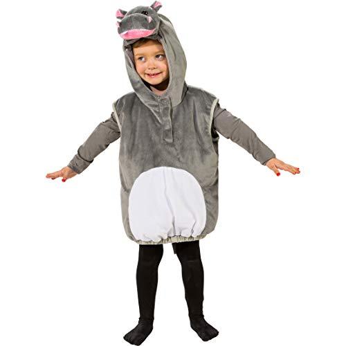 ste mit Kapuze für Jungen & Mädchen   Grau-Weiß in Größe 104, 3 - 4 Jahre   Niedliches Kinder-Kostüm Hippo   Der Mittelpunkt für Kinder-Fasching & Karneval ()