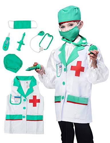 Ärzte Kostüm Kinder - IKALI Kinder Arzt Kostüm, Unisex Classic Lab Weste Pretend Play Toy Outfit (7 Stück) 3-4 Jahre