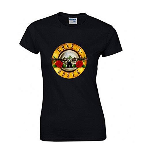 JJZHY Rock Guns N \'Roses Kurzarm T-Shirt Damen GNR Band Lässige Baumwolle Kurzes T-Shirt,Schwarz,M