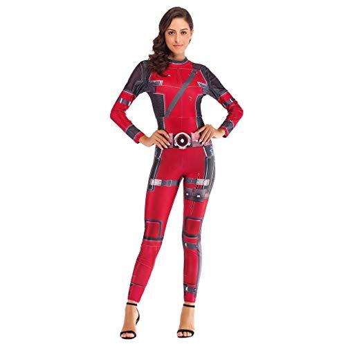 Halloween Dress Up Ideen Frauen - AEMUT Frauen-Halloween Deadpool Jumpsuits Cosplay Bodysuit
