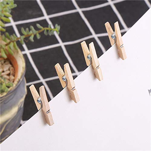 Mini Wooden Pegs, Weforu 200pcs Wooden Clips Pegs for Paper Photo Hanging, DIY Decoration Artworks School Projects