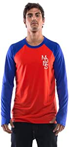 Mons Royale The Raglan Henley Men's Long-Sleeved Shirt Red Flame / Blue Size:XL