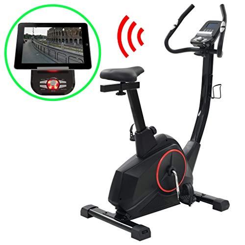 vidaXL Bicicleta Estática Programable Masa 10 kg con App de Smartphone Fitness