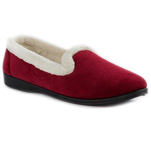 The Slipper Company - Womens Red Velour Memory Foam Full Slipper -...