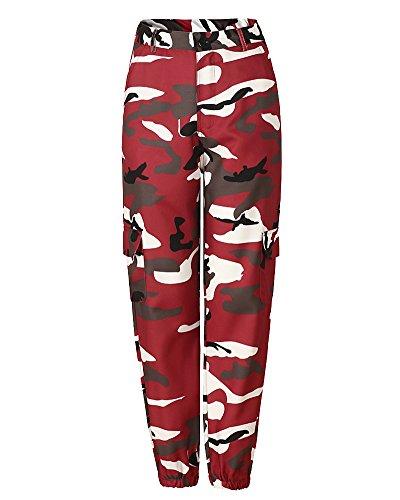 Donna Sciolto Camouflage Stampa Sportivi Tempo Libero Jeans Cargo Pantaloni Bodeaux M